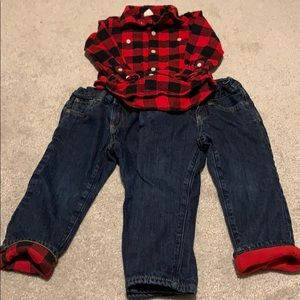 GAP 3T jeans and flannel shirt